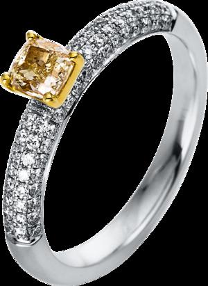 Solitairering Brogle Selection Promise aus 750 Weißgold und 750 Gelbgold mit 73 Brillanten (0,78 Karat)