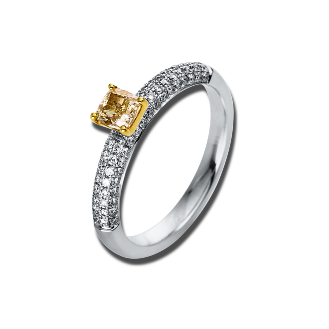 Solitairering Brogle Selection Promise aus 750 Weißgold und 750 Gelbgold mit 73 Brillanten (0,78 Karat) bei Brogle