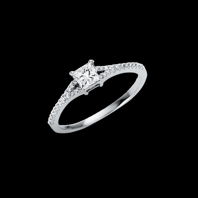 Solitairering Brogle Selection Promise aus 750 Weißgold mit 29 Diamanten (0,43 Karat) bei Brogle