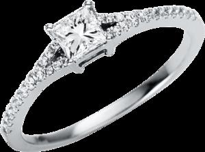 Solitairering Brogle Selection Promise aus 750 Weißgold mit 29 Diamanten (0,43 Karat)