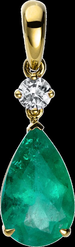Anhänger Brogle Selection Royal aus 750 Gelbgold mit 1 Brillant (0,17 Karat) und 1 Smaragd