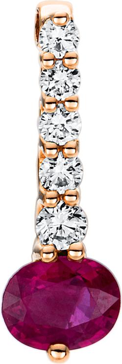 Anhänger Brogle Selection Royal aus 750 Roségold mit 5 Brillanten (0,12 Karat) und 1 Rubin