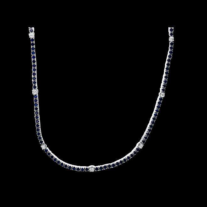 Halskette Brogle Selection Royal aus 750 Weißgold mit 11 Brillanten (1,04 Karat) und 140 Saphiren bei Brogle