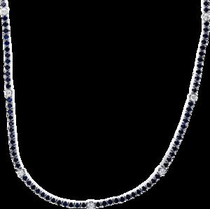 Halskette Brogle Selection Royal aus 750 Weißgold mit 11 Brillanten (1,04 Karat) und 140 Saphiren