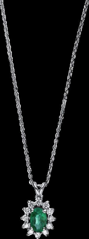 Halskette mit Anhänger Brogle Selection Royal aus 750 Weißgold mit 12 Brillanten (0,16 Karat) und 1 Smaragd