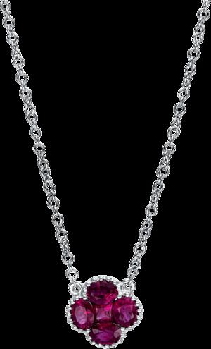 Halskette mit Anhänger Brogle Selection Royal aus 750 Weißgold mit mehreren Edelsteinen
