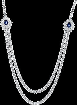 Halskette Brogle Selection Royal aus 750 Weißgold mit 196 Brillanten (9,17 Karat) und 2 Saphiren