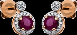 Ohrstecker Brogle Selection Royal aus 750 Roségold mit 40 Brillanten (2 x 0,065 Karat) und 2 Rubinen
