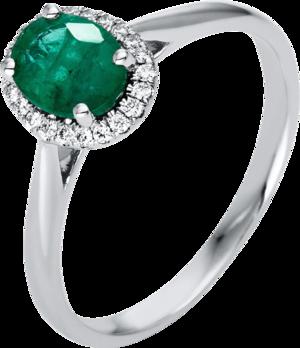 Ring Brogle Selection Royal aus 750 Weißgold mit 22 Brillanten (0,1 Karat) und 1 Smaragd