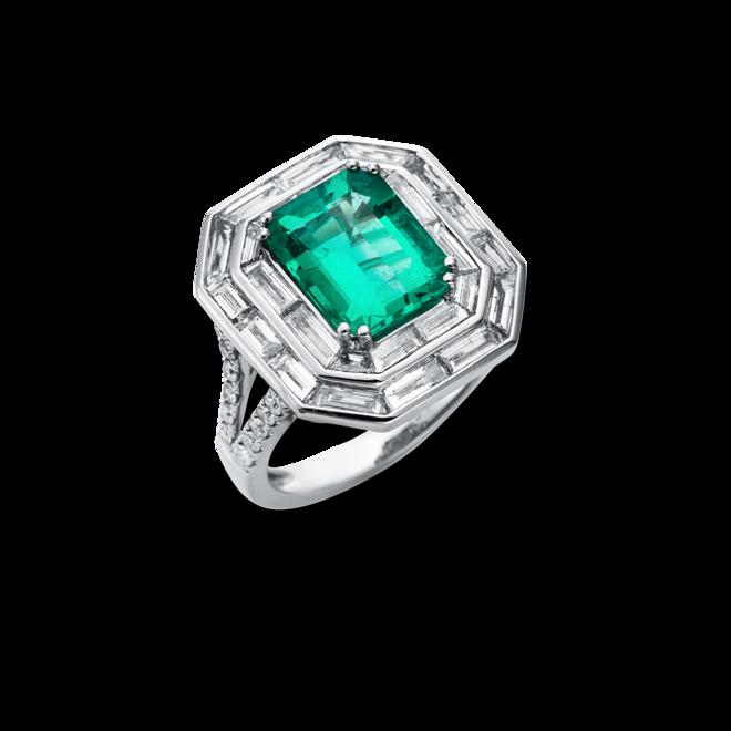 Ring Brogle Selection Royal aus 750 Weißgold mit 50 Diamanten (2,1 Karat) und 1 Smaragd bei Brogle