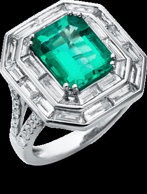 Ring Brogle Selection Royal aus 750 Weißgold mit 50 Diamanten (2,1 Karat) und 1 Smaragd