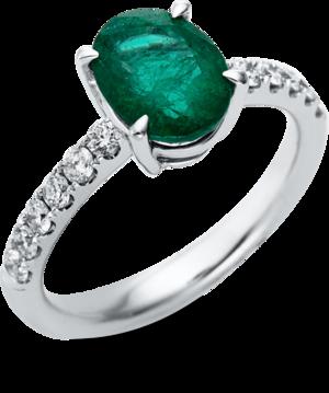 Ring Brogle Selection Royal aus 750 Weißgold mit 12 Brillanten (0,42 Karat) und 1 Smaragd