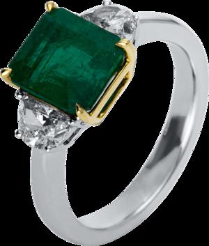 Ring Brogle Selection Royal aus 750 Weißgold und 750 Gelbgold mit 2 Diamanten (0,73 Karat) und 1 Smaragd