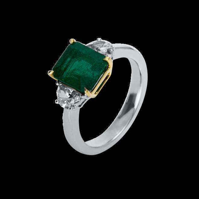 Ring Brogle Selection Royal aus 750 Weißgold und 750 Gelbgold mit 2 Diamanten (0,73 Karat) und 1 Smaragd bei Brogle