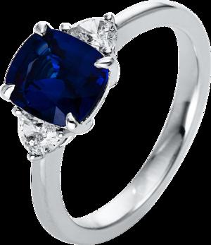 Ring Brogle Selection Royal aus 750 Weißgold mit 2 Diamanten (0,3 Karat) und 1 Saphir