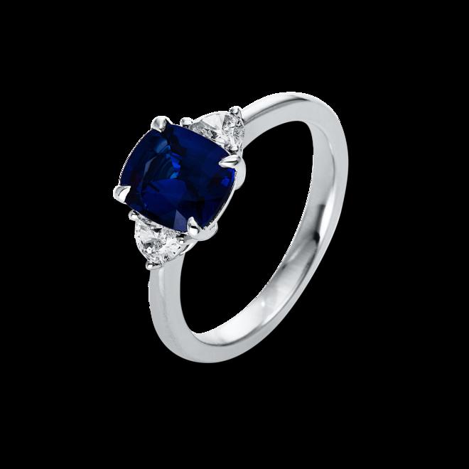 Ring Brogle Selection Royal aus 750 Weißgold mit 2 Diamanten (0,3 Karat) und 1 Saphir bei Brogle