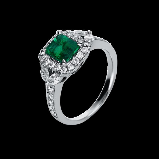 Ring Brogle Selection Royal aus 750 Weißgold mit 32 Brillanten (0,84 Karat) und 1 Smaragd bei Brogle