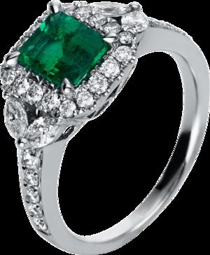 Ring Brogle Selection Royal aus 750 Weißgold mit 32 Brillanten (0,84 Karat) und 1 Smaragd