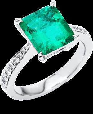 Ring Brogle Selection Royal aus 750 Weißgold mit 16 Brillanten (0,28 Karat) und 1 Smaragd
