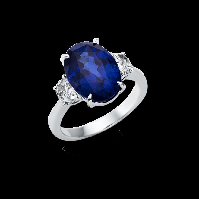 Ring Brogle Selection Royal aus 750 Weißgold mit 2 Diamanten (0,48 Karat) und 1 Saphir bei Brogle