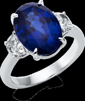 Ring Brogle Selection Royal aus 750 Weißgold mit 2 Diamanten (0,48 Karat) und 1 Saphir