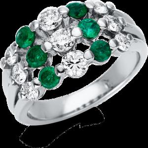 Ring Brogle Selection Royal aus 900 Platin mit 9 Brillanten (0,93 Karat) und 6 Smaragden