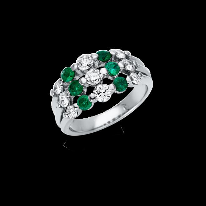 Ring Brogle Selection Royal aus 900 Platin mit 9 Brillanten (0,93 Karat) und 6 Smaragden bei Brogle