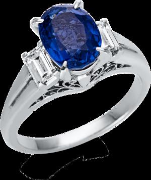 Ring Brogle Selection Royal aus 900 Platin mit 2 Diamanten (0,43 Karat) und 1 Saphir