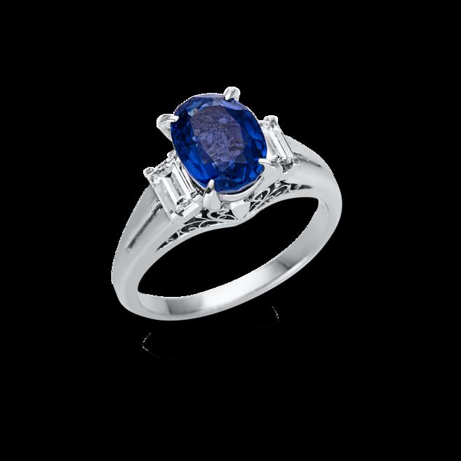 Ring Brogle Selection Royal aus 900 Platin mit 2 Diamanten (0,43 Karat) und 1 Saphir bei Brogle