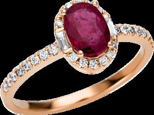 Ring Brogle Selection Royal aus 750 Roségold mit 30 Brillanten (0,22 Karat) und 1 Rubin