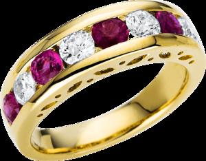 Ring Brogle Selection Royal aus 585 Gelbgold mit 4 Brillanten (0,7 Karat) und 5 Rubinen