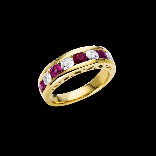 Ring Brogle Selection Royal aus 585 Gelbgold mit 4 Brillanten (0,7 Karat) und 5 Rubinen bei Brogle