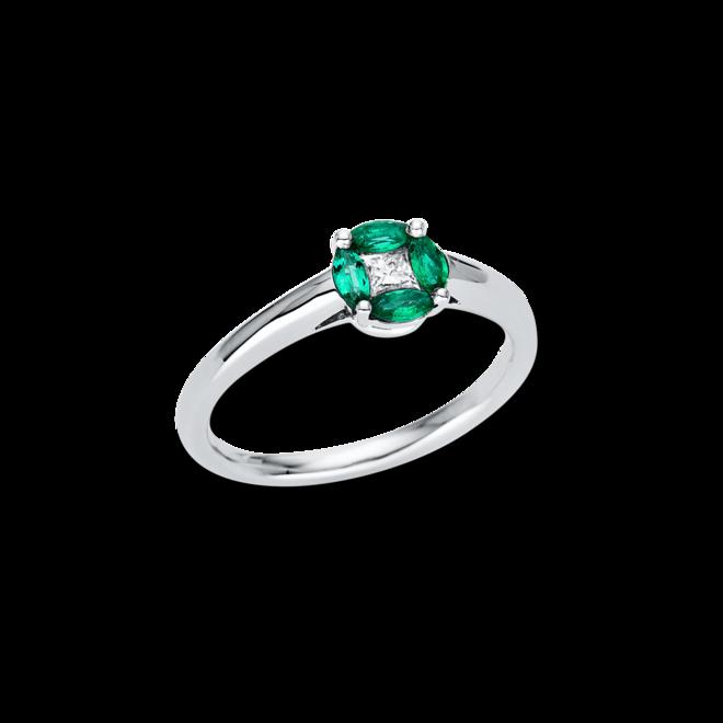Ring Brogle Selection Royal aus 750 Weißgold mit 1 Diamant (0,13 Karat) und 4 Smaragden bei Brogle