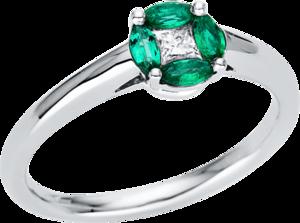 Ring Brogle Selection Royal aus 750 Weißgold mit 1 Diamant (0,13 Karat) und 4 Smaragden