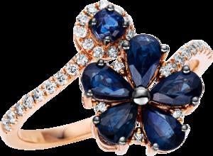 Ring Brogle Selection Royal aus 750 Roségold mit 33 Brillanten (0,19 Karat) und 6 Saphiren