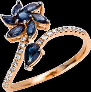 Ring Brogle Selection Royal aus 750 Roségold mit 20 Brillanten (0,13 Karat) und 8 Saphiren