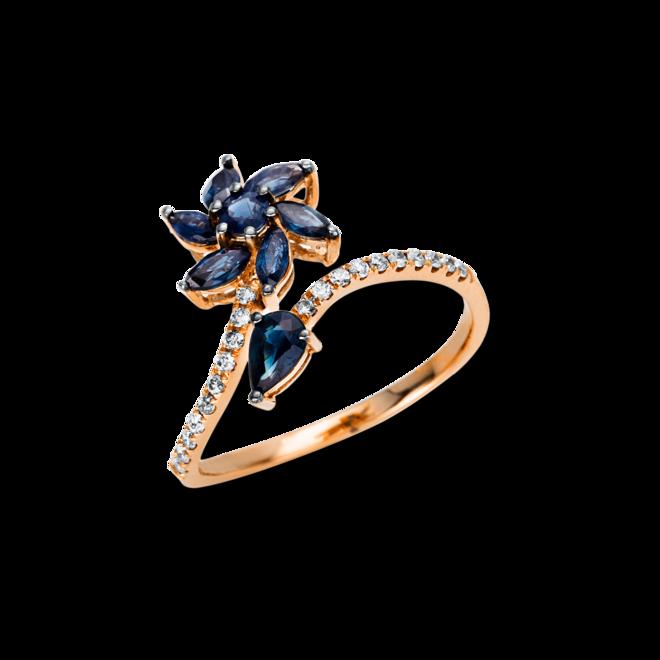 Ring Brogle Selection Royal aus 750 Roségold mit 20 Brillanten (0,13 Karat) und 8 Saphiren bei Brogle