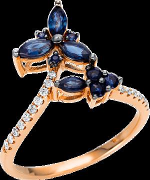 Ring Brogle Selection Royal aus 750 Roségold mit 17 Brillanten (0,11 Karat) und 10 Saphiren