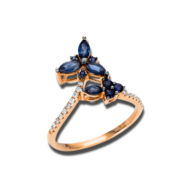 Ring Brogle Selection Royal aus 750 Roségold mit 17 Brillanten (0,11 Karat) und 10 Saphiren bei Brogle