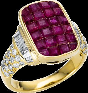 Ring Brogle Selection Royal aus 585 Gelbgold mit 55 Brillanten (0,88 Karat) und 24 Rubinen