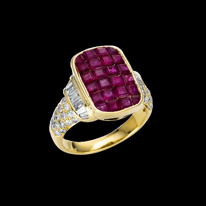 Ring Brogle Selection Royal aus 585 Gelbgold mit 55 Brillanten (0,88 Karat) und 24 Rubinen bei Brogle