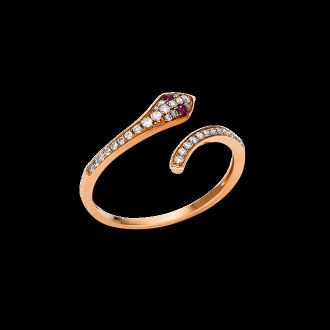 Ring Brogle Selection Royal aus 750 Roségold mit 32 Brillanten (0,19 Karat) und 2 Rubinen bei Brogle