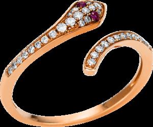 Ring Brogle Selection Royal aus 750 Roségold mit 32 Brillanten (0,19 Karat) und 2 Rubinen