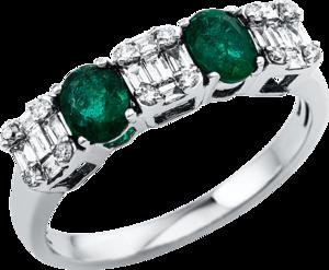 Ring Brogle Selection Royal aus 750 Weißgold mit 27 Brillanten (0,3 Karat) und 2 Smaragden