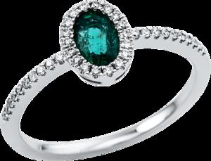 Ring Brogle Selection Royal aus 750 Weißgold mit 38 Brillanten (0,14 Karat) und 1 Smaragd