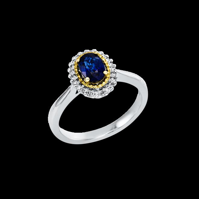 Ring Brogle Selection Royal aus 750 Gelbgold und 750 Weißgold mit 22 Brillanten (0,13 Karat) und 1 Saphir bei Brogle