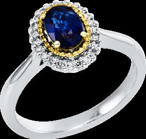 Ring Brogle Selection Royal aus 750 Gelbgold und 750 Weißgold mit 22 Brillanten (0,13 Karat) und 1 Saphir