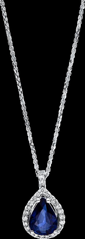 Halskette mit Anhänger Brogle Selection Royal Tropfen aus 585 Weißgold mit 25 Brillanten (0,15 Karat) und 1 Saphir