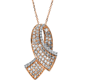 Halskette mit Anhänger Brogle Selection Statement aus 585 Roségold und 585 Weißgold mit 94 Brillanten (1,72 Karat)