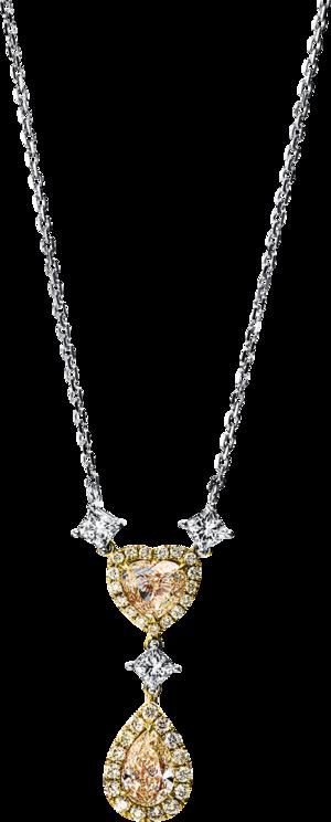 Halskette mit Anhänger Brogle Selection Statement aus 750 Gelbgold und 750 Weißgold mit 37 Brillanten (2,23 Karat)
